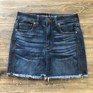 American Eagle Raw Hem High Rise Mini Denim Skirt